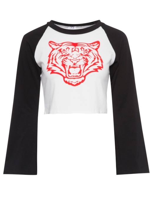 Bell Sleeve Color Block Animal Print Women's T-Shirt