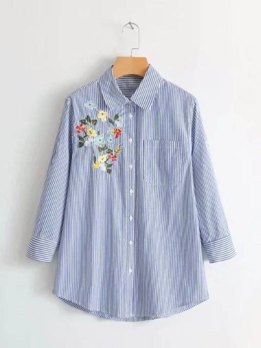 Embroidery Pocket Button Down Women's Shirt