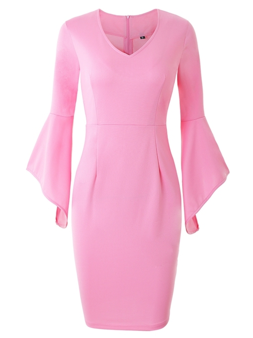 Flare Sleeve Plain Bodycon Zip Dress