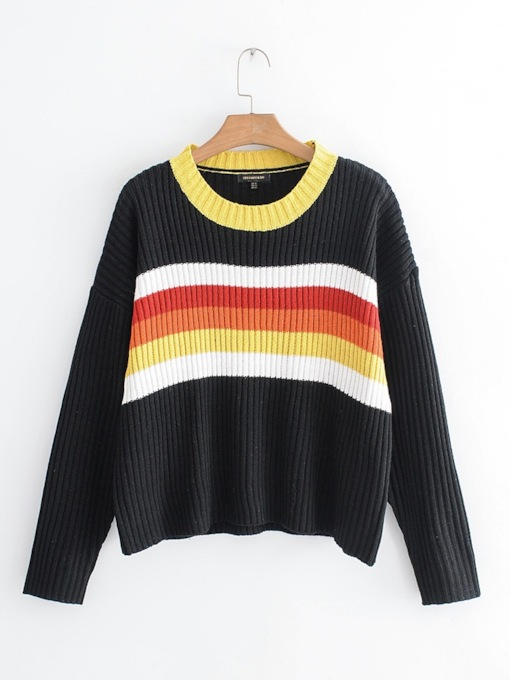 Round Neck Stripe Pullover Women's Sweater