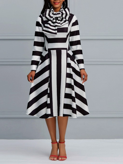 Stripe Bowknot A-Line Women's Dress