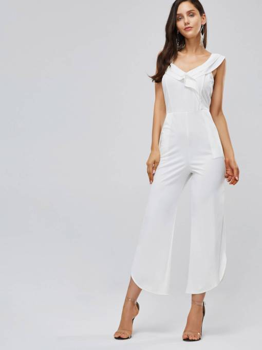 Asymmetric Ruffled Straight Casual Women's Jumpsuit