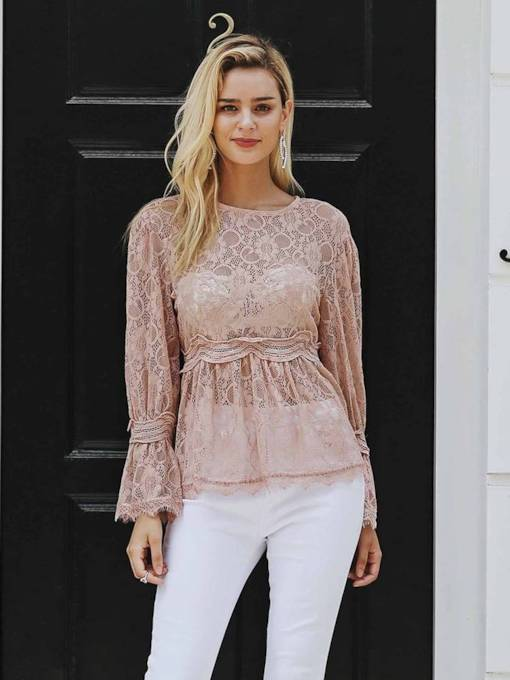 Irregular Bell Sleeve Sheer Lace Women's Blouse