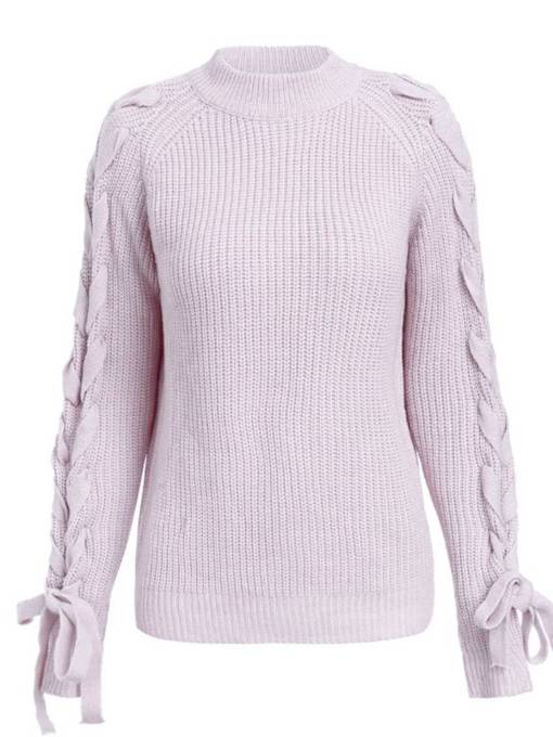 Lace Up Long Sleeve Women's Mock Neck Sweater