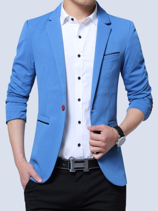 One Button Notched Lapel Slim Casual Men's Blazer