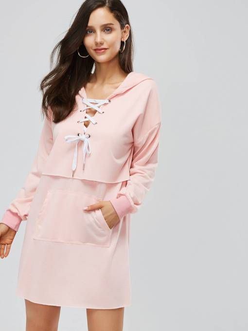 Pink Double-Layered Women's Long Sleeve Dress