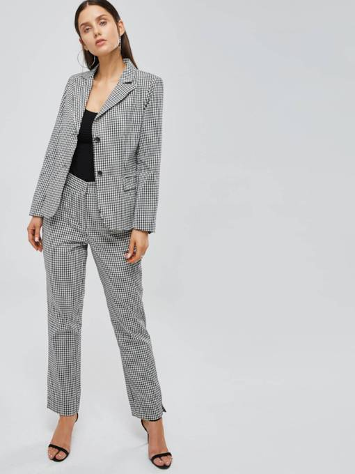Gingham Print Lapel Blazer and Pants Women's Suit