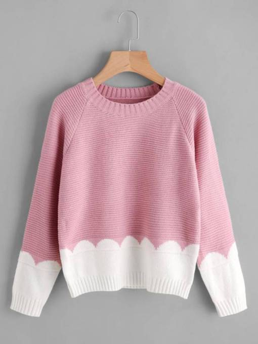 Color Block Scoop Neck Women's Sweater