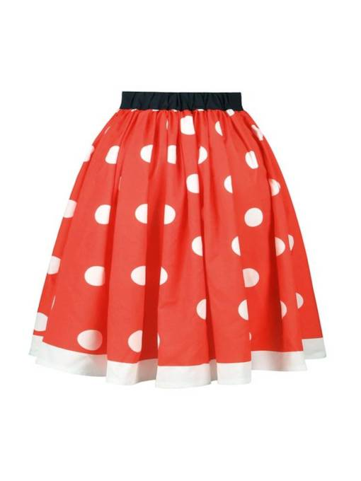 Polka Dots Pleated Mid Calf Women's Skirt