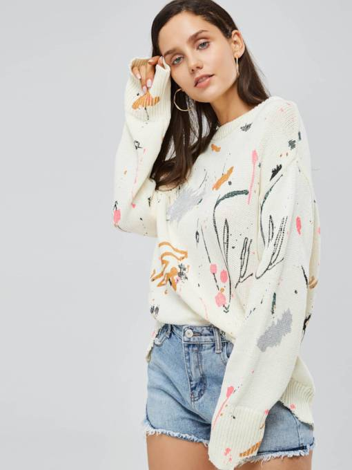 Loose Fit Pullover Mixed Print Women's Sweater