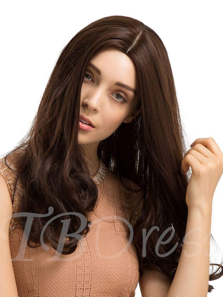 Long Middle Part Wavy Synthetic Hair Women Capless Wig