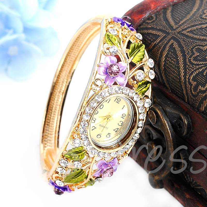 Oval Carved Flower Bracelet Watches