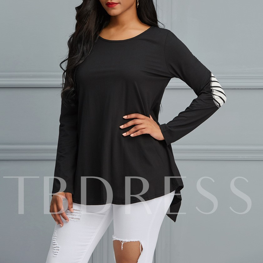 Mid-Length Asymmetric Button Women's T-Shirt
