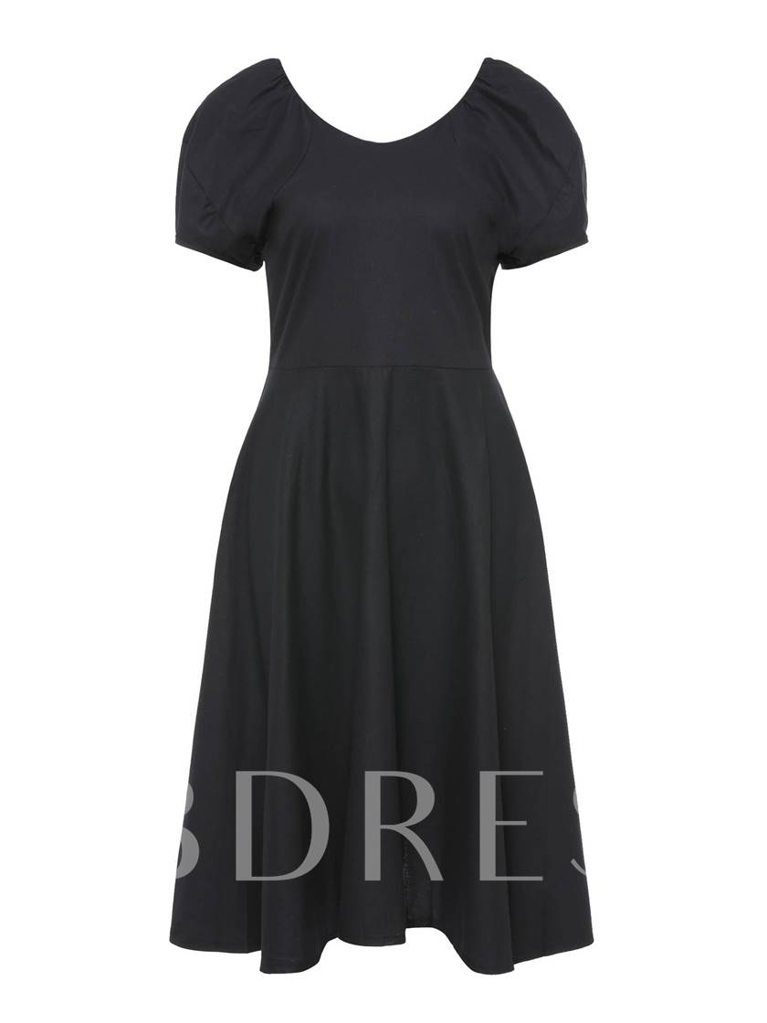 Puff Sleeve Black Women's Day Dress