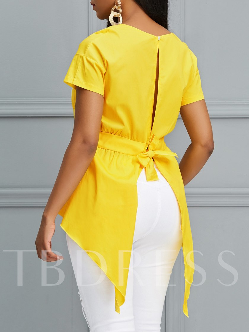Round Neck Plain Backless Women's Blouse