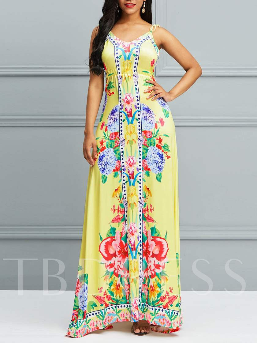 Sleeveless V-Neck Hollow Expansion Women's Maxi Dress