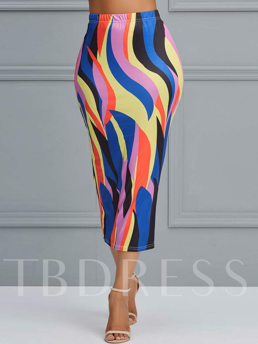 Bodycon Color Block Print Mid-Calf Western Women's Skirt