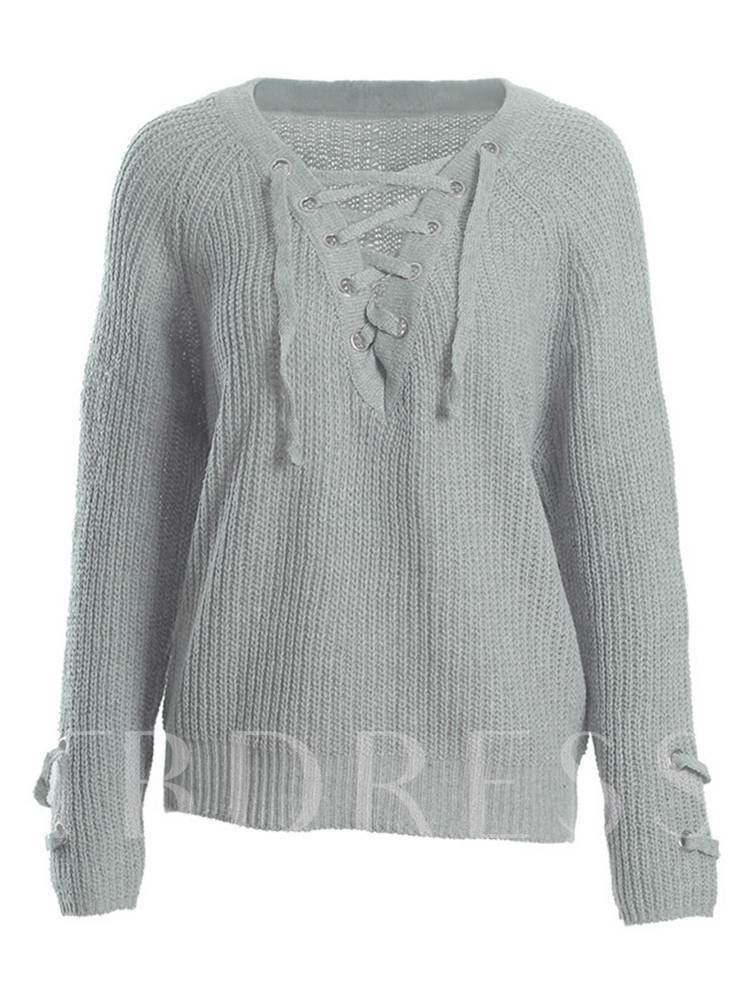 Lace Up Long Sleeves Pullover Women's Sweater