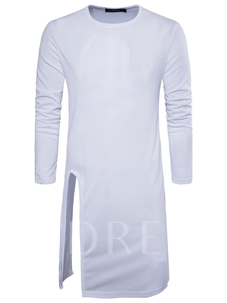 Plain Korean Stylish Irregular Tailoring Round Neck Long Sleeve Men's T-shirt