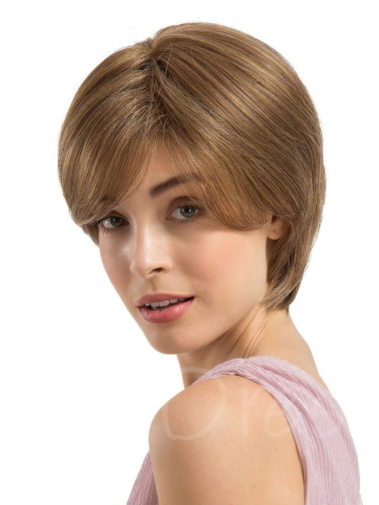 Short Silky Straight Human Hair Blend Wigs 8Inches