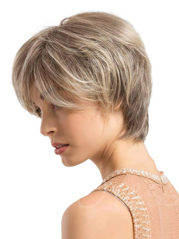 Short Layered Choppy Cut Human Hair Blend Capless Wigs