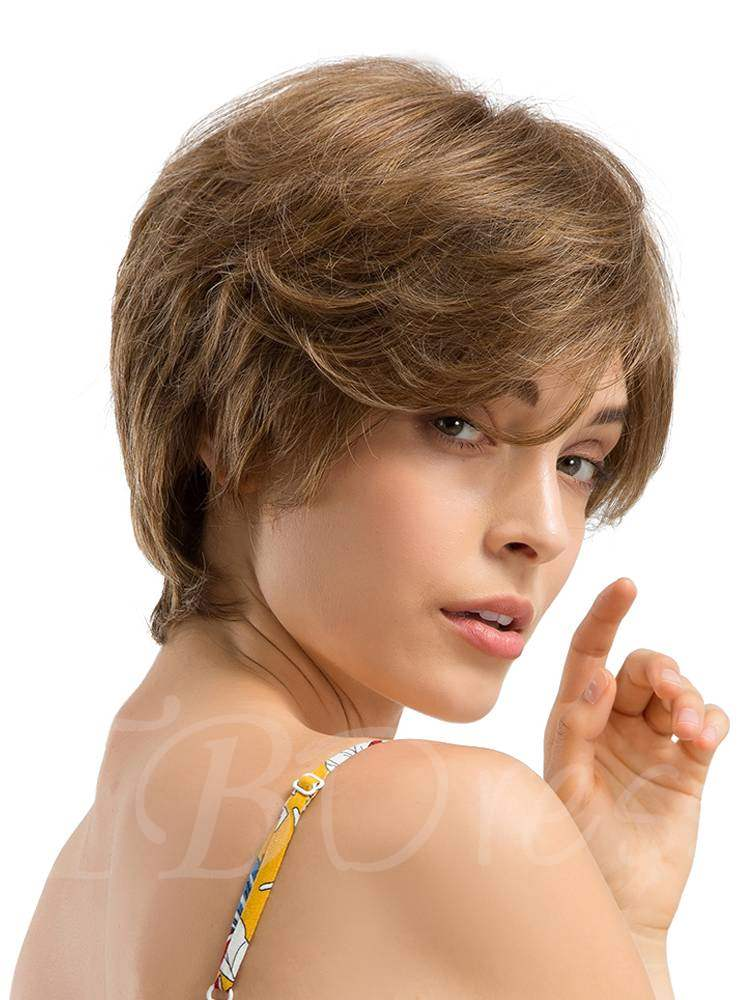 Short Cut Layered Straight Human Hair With Bangs Blend Wigs