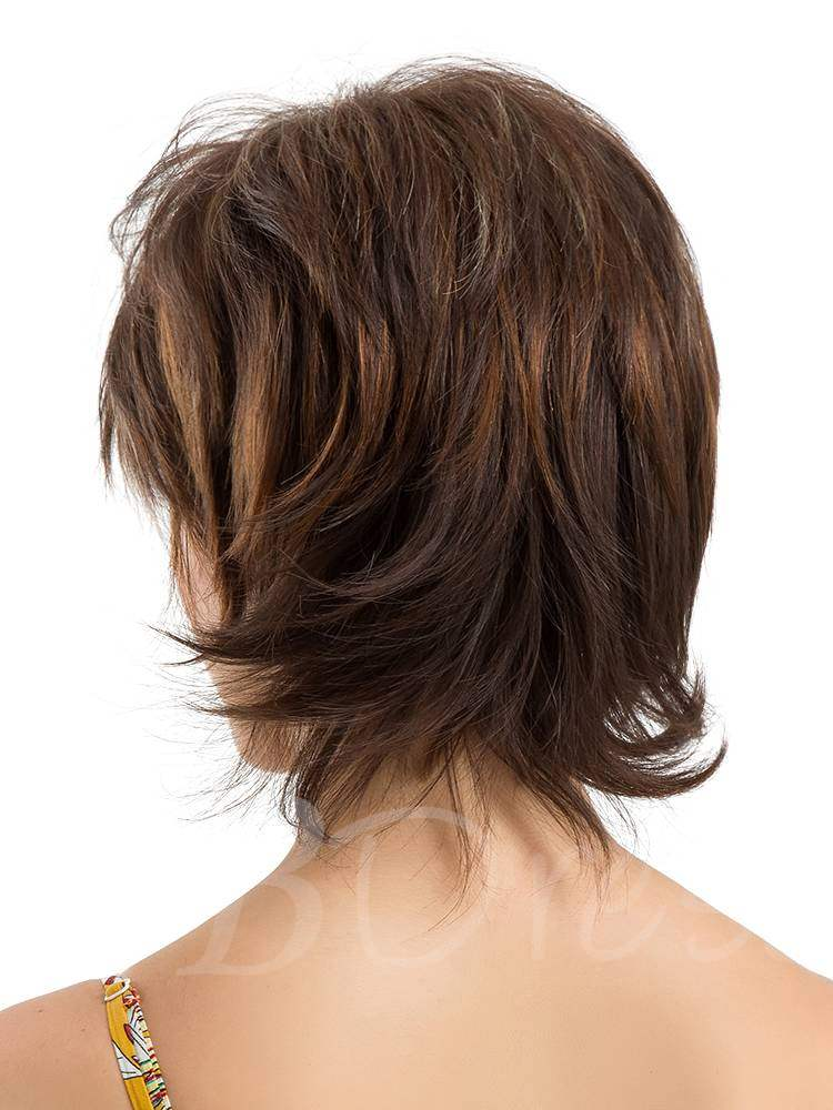 Short Layered Cut Human Hair Blend Wigs 10Inches
