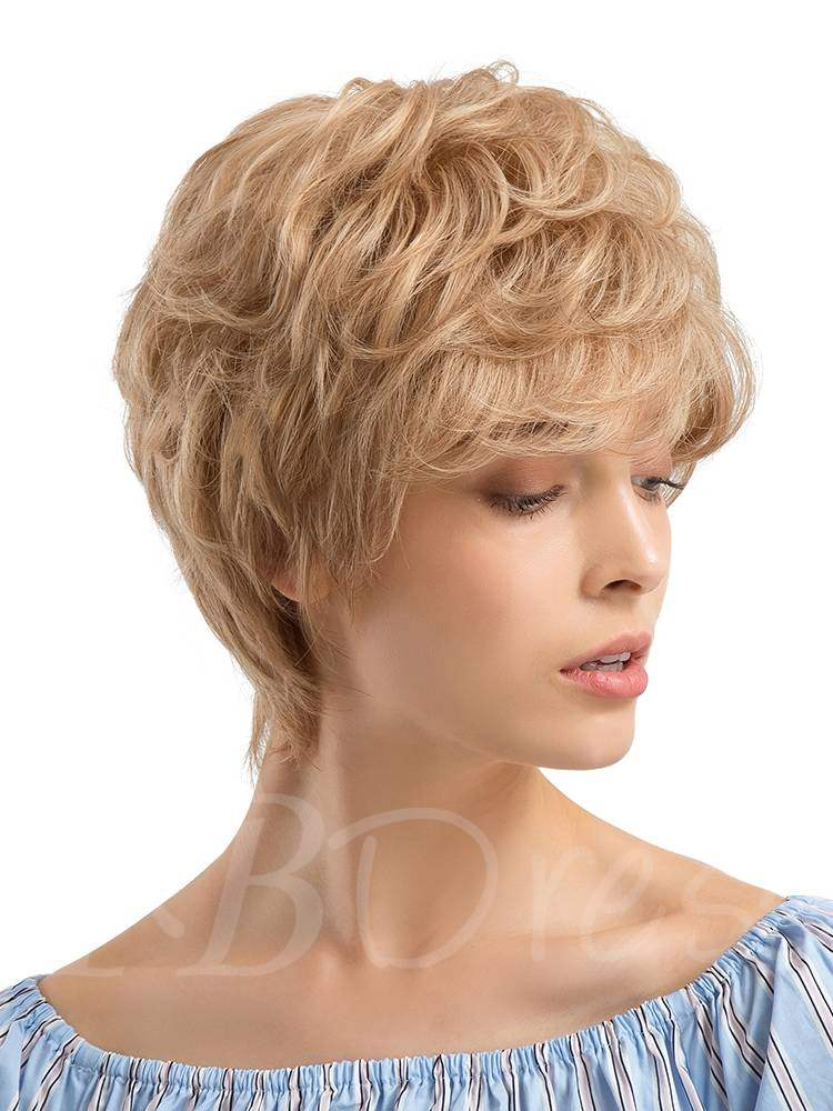 Short Type Layered Cut Human Hair Blend Wigs