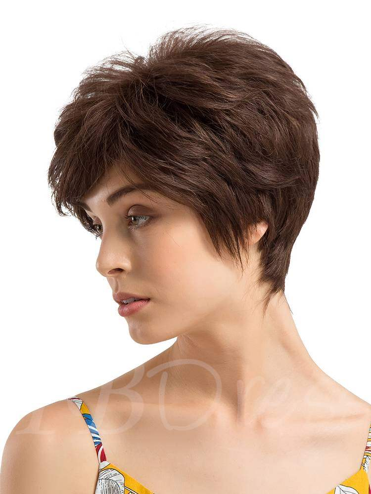Short Layered Wave Human Hair Capless Wigs 8Inches