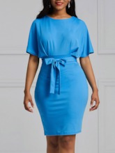 Round Neck Short Sleeve Lace-Up Bodycon Women's Bodycon Dress