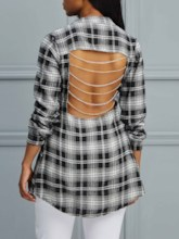 Backless Chain Plaid Long Sleeve Women's Shirt