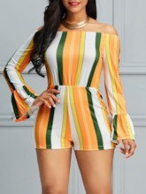 Short Backless Color Block Slim Women's Rompers