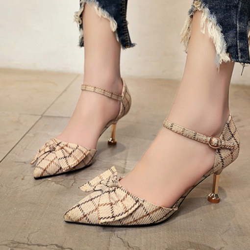 Pointed Toe Stiletto Heel Bowknot Buckle Classical Women's Pumps
