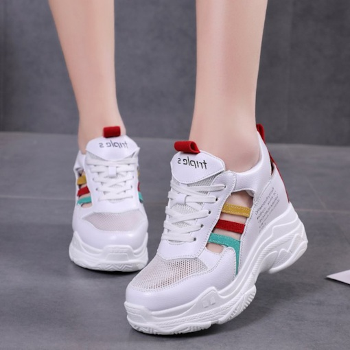 Round Toe Hidden Elevator Heel Patchwork Lace-Up Women's Sneaker