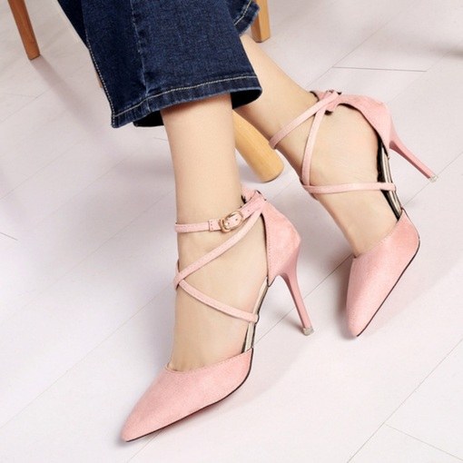 Pointed Toe Stiletto Heel Buckle Classical Women's Pumps