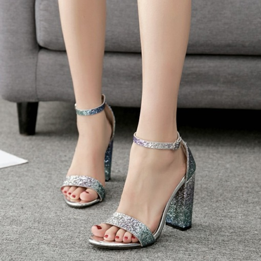 Open Toe Line-Style Buckle Chunky Heel Glitter Women's Sandals