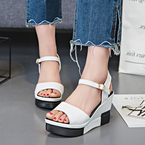 Color Block Open Toe Wedge Heel Casual Women's Sandals