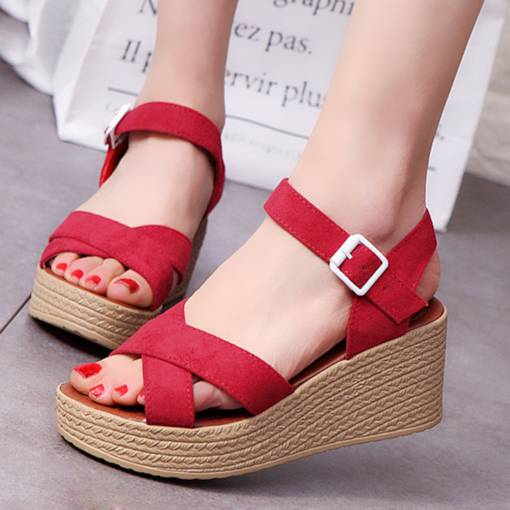 Ankle Strap Open Toe Buckle Wedge Heel Platform Women's Sandals