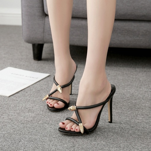 Cross Stiletto Heel Slip-OnTrendy Sexy Women's Sandals
