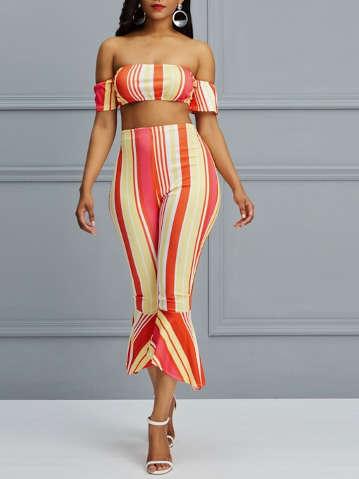 Stripe Backless T-Shirt Sexy Bellbottoms Women's Two Piece Sets