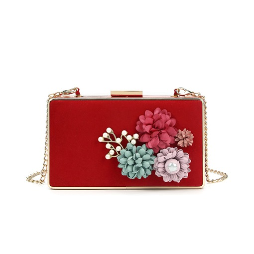 Fresh Rectangle Floral Chain Clutch