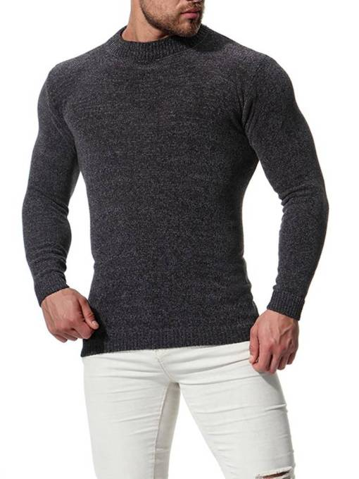 Solid Color Roundneck Plain Slim Men's Sweater