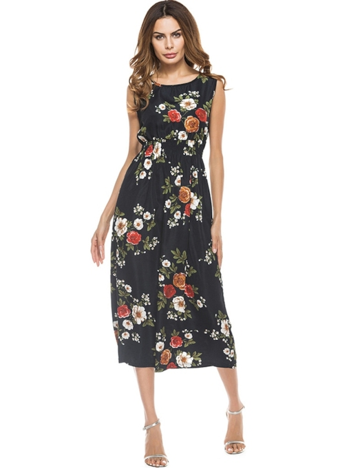 Round Neck Sleeveless Prints Maxi Dress