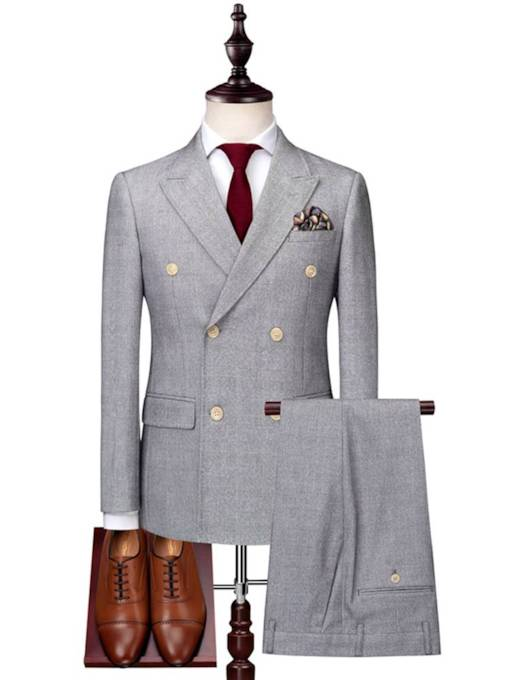 England Style Double-Breasted Slim Men's Dress Suit