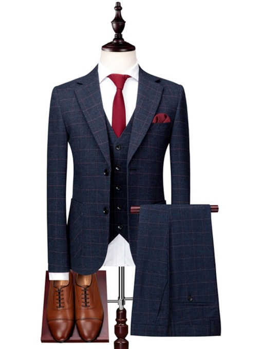 Double Button Three Piece Slim Men's Dress Suit