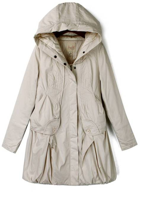 Ruched A Line Hooded Brushsed Women's Trench Coat
