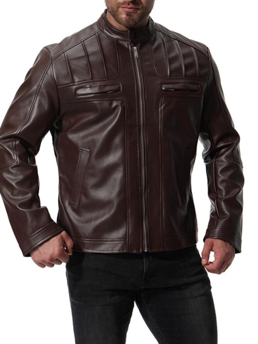 Locomotive Style Stand Collar Faux Leather Men's Jacket
