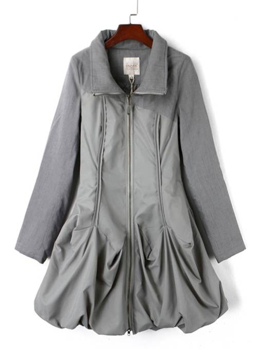 Stand Collar Zipper Up Pleated Pocket Women's Trench Coat