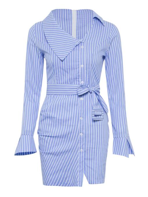 Long Sleeve Stripe Button Split Bodycon Dress