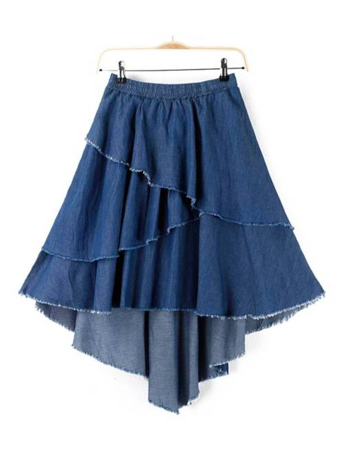 Ruffle High Waist Layered Women's Denim Skirt